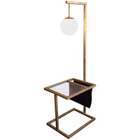 Brutalist Floor Lamp with Table and Magazine Rack
