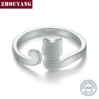 ZHOUYANG Cute Wire Drawing Little Cat 925 Sterling Silver Adjustable Ring S925 Fashion Jewelry Creative Gift for Girl RY002