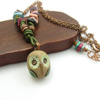 Handmade Artisan Owl Pendant and Beaded Necklace Knotted Leather and Copper Owl Necklace Colorful Owl Necklace Stoneware Handmade Jewelry