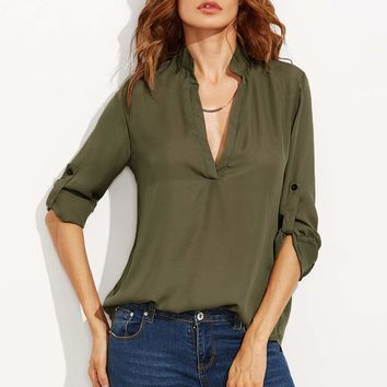 Plunging Neck Rolled-Up Sleeve Blouse