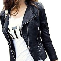 Locomotive Women Short Paragraph Leather Jacket,M