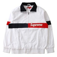 Supreme Fashion Women Men Casual Letter Print Lapel Patchwork Zipper Jacket Coat White I