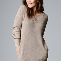 Ribbed Double-V Tunic Sweater