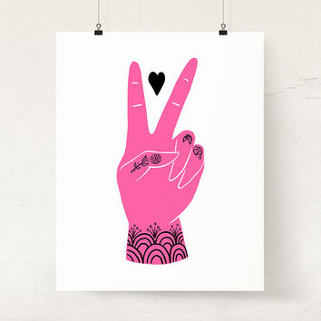 Peace sign wall art | Inspirational peace and love illustration art print Free spirit Boho decor | Hippie art | Peace hand wall decor pink