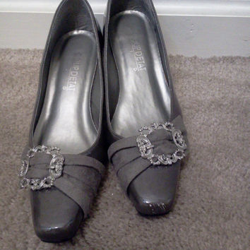 Grey Patent Leather Slip On Shoes Womens Size 7M