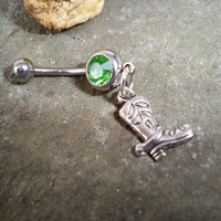 cowboy boot belly  button ring by sindys on Etsy