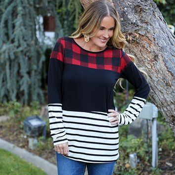 Buffalo Plaid Striped Raglan