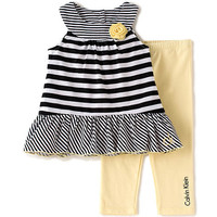 Calvin Klein Girls 2 Piece Black/White Striped Sleeveless Drop Waist Tunic and Yellow Leggings Set