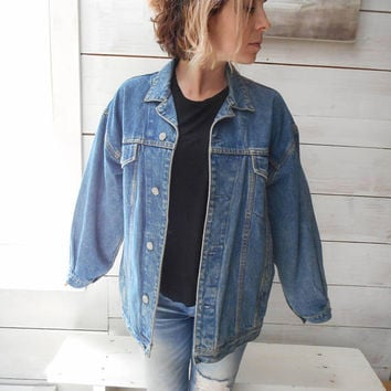 GAP Jean Jacket 80s Denim Jacket Oversized 90s Jean Jacket Trucker Blue Stone Wash