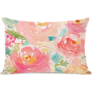 """Popping Peonies"" Outdoor Throw Pillow by OneBellaCasa, 14""x20"""