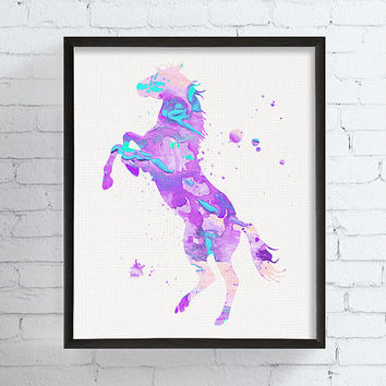 Horse Art Print, Watercolor Horse, Horse Painting, Nursery Art Print, Horse Poster, Horse Wall Art, Girls Room Decor, Baby Girl Nursery