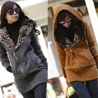 Korea Ladies Leopard Hoodie TOP Fleece Jackets Women Zipped Coat Sweatshirt