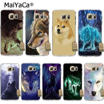MaiYaCa Classic Cool Wolf Hipster Print Coque Shell Phone Case  for Samsung S5 S6 S7 Edge S8 Plus S3 S4