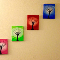 Four seasons Colorful Acrylic painting Canvas art Contemporary Art Wall decor Tree of life Wall art, Set of four canvases