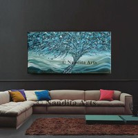 """SALE - Jackson Pollock Inspired tree art by Nandita 48"""" Abstract Blue teal original artwork modern large wall art painting, canvas painting"""
