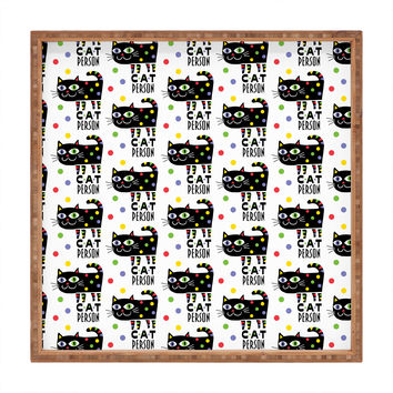 Andi Bird Cat Person Black Square Tray