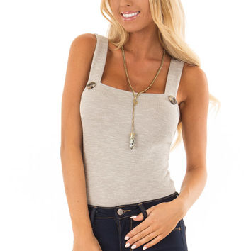 Warm Heather Grey Ribbed Bodysuit with Button Detail