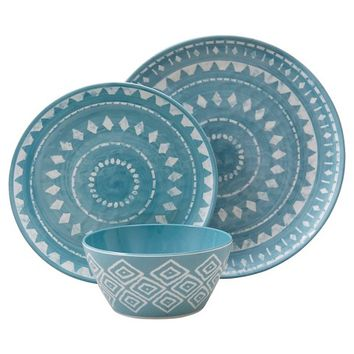 Threshold™ Mosaic Design 12 Piece Dinnerware Set - Blue