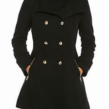 Jessica Simpson Double Breasted Braided Wool Flare Coat