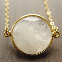 Round Moonstone Gold Necklace Milky White 14k by friedasophie