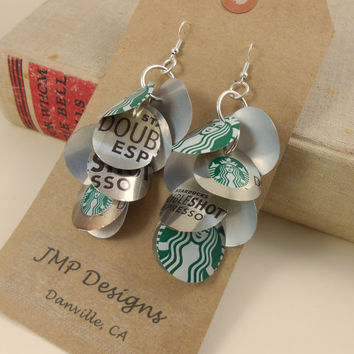 Starbucks Coffee Logo Earrings.  Recycled Soda Can Art.  Doubleshot Espresso