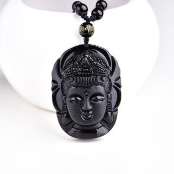 ac spbest Bead curtain natural obsidian transhipped scrub buddha head pendant black