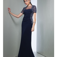 Preorder - Mignon VM1077 Navy Beaded Ruched Bodice Dress Fall 2015
