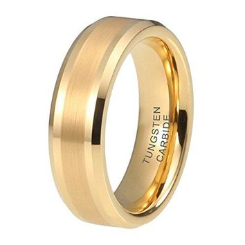iTungsten 6mm 8mm Womens Mens Wedding Bands Gold Plated Tungsten Carbide Rings Fathers Mothers Gift Bridal Jewelry