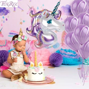 FENGRISE 39inch Unicorn Balloon Balloons Unicorn Party Birthday Decoration Baby Kids Favors Foil Balloon Wedding Party Supplies