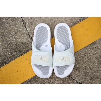Air Jordan Hydro 4 Slippers White Gray Slides Sandals