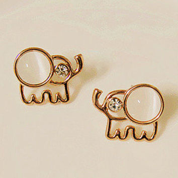 Lovely Beige Opal Rhinestone Elephant Stud Earrings from http://www.looback.com/