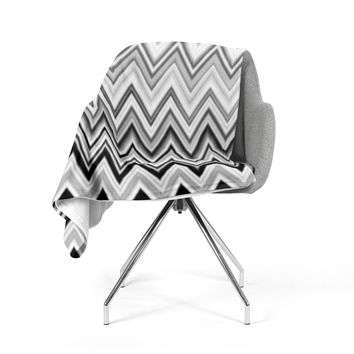 "Nika Martinez ""Seventies Chevron In BW"" Black Pattern Fleece Throw Blanket"