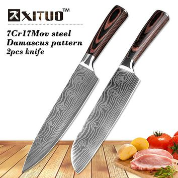 "XITUO 2 pcs kitchen knives set 8""7"" inch Japanese chef knife Damascus steel Pattern Utility Paring Santoku Slicing knife Health"