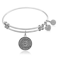 Expandable Bangle in White Tone Brass with Karma Symbol