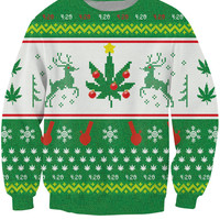 Mary Christmas Crewneck Sweatshirt bongs and weed leaves 3d Print Pull Women Men family holiday Sweats Jumper Sweat Outfits Tops