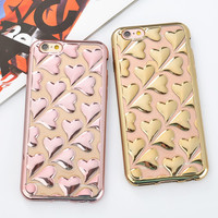 Cute Plated Heart Full Body Chromed Soft Silicone Case For Apple iPhone 6 4.7 6S 6/6S Plus Love Pattern Cover For iPhone 6 Plus