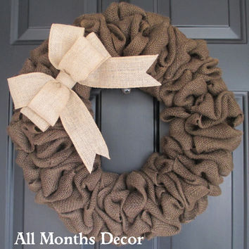 Brown Burlap Wreath with Natural Burlap Bow, Country, Spring Easter Fall Winter, Year Round, Fall, Porch Door Decor