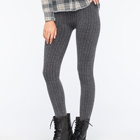 Just One Cable Knit Womens Leggings Gray  In Sizes