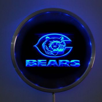 rs-0123 Chicago Bears LED Neon Round Signs 25cm/ 10 Inch - Bar Sign with RGB Multi-Color Remote Wireless Control Function