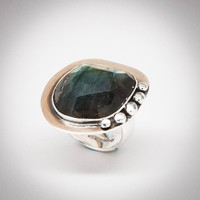 Faceted Labradorite Stone Ocean Ring 2