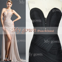 Gorgeous Strapless Draped Black Chiffon Prom Dress , Evening Gown ,Cocktail Dress,