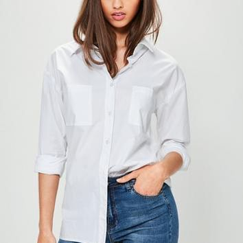Missguided - White Basic Cotton Poplin Shirt