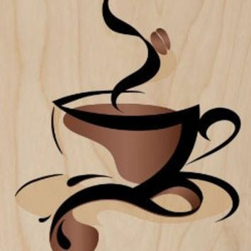 Abstract Swirl Artwork Cup of Coffee Java w/ Bean - Plywood Wood Print Poster Wall Art