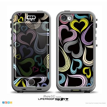 The Pastel Color Vector Heart Pattern on Black Skin for the iPhone 5c nüüd LifeProof Case