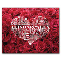 Personalized wedding Typography Wall Art - Wedding heart - Wedding Anniversary Gift - Word Art Print - Valentines Day Gift - Roses
