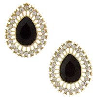 Opulent Teardrop Stud Earrings - Black, Mint or Pink