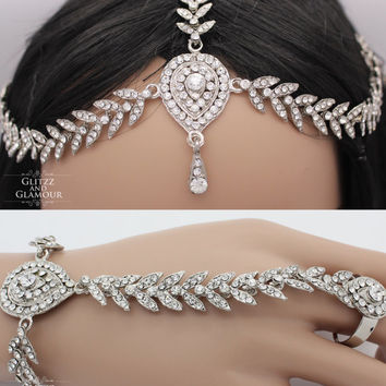 Handmade Silver Head chain,headpiece, head jewellery matta patti with matching Hand chain panja bracelet ring Kundan stones Indian Bollywood