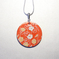 Round birch wood, red/orange washi paper pendant, Japanese necklace, Asian inspired jewelry, 18 inch - silver/gold color blossoms flowers