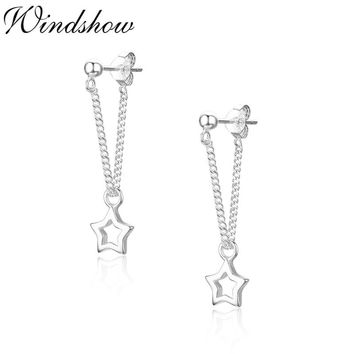 Cute Small 925 Sterling Silver Hollow Star Charms Pendientes Chains Stud Earrings For Women Jewelry Girls Aros Aretes Kolczyki