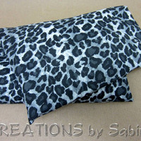 Microwave Corn Pillow with washable cover / Heating Pack / Therapy Pad Bag / gray grey leopard animal print wild cat / READY TO SHIP (162)